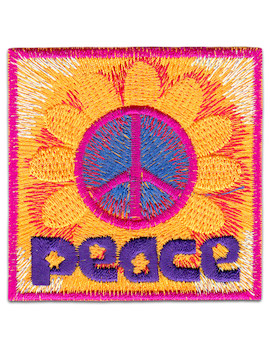 Peace Sunflower Patch Iron Sew On Symbol No War