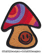 Smiley Shrooms Patch Iron Sew On Psychedelic Magic Mushroom